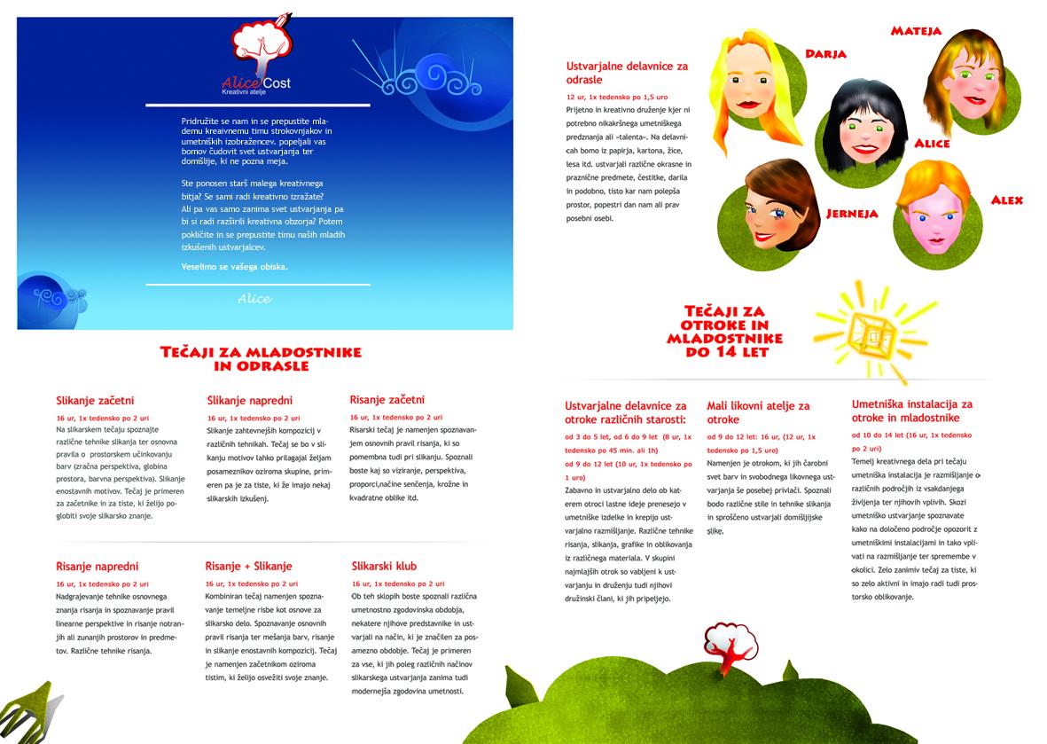 Zloženka Alice Cost, Grafično oblikovanje Studio Legen